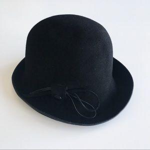 Vintage Black Felt Equestrian Hat